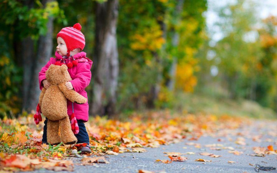 nina-con-un-oso-peluche,-bebe,-hojas-de-colores-162558