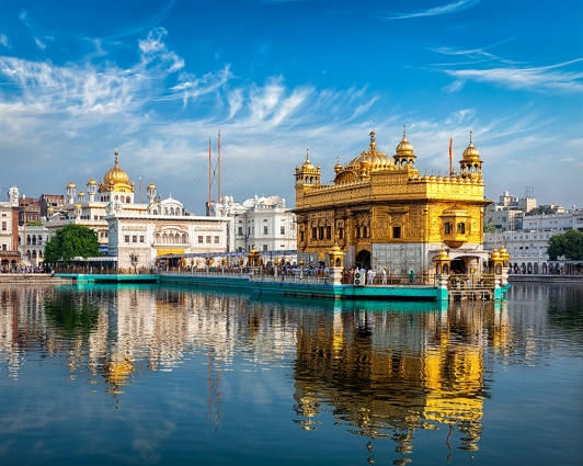 Panorama of Sikh gurdwara Golden Temple (Harmandir Sahib) and water tank. Amritsar, Punjab, India