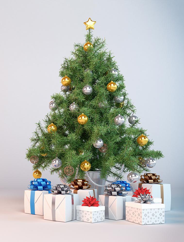 Dekorierter Christbaum, Weihnachtsbaum und Geschenken