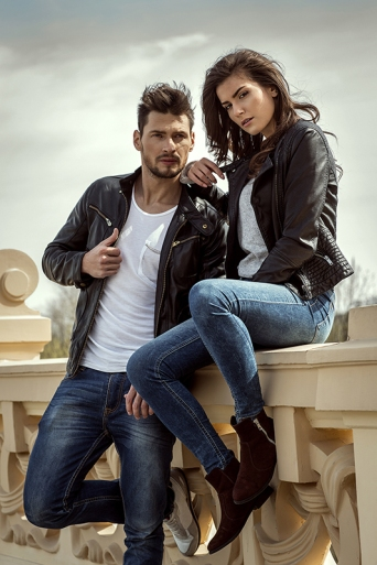 Fashionable couple outdoor