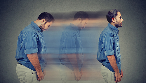Side profile of a young chubby man transformation into a slim person