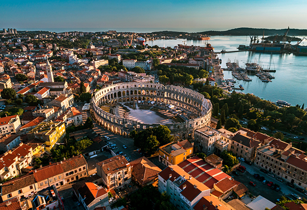 Pula Arena at sunset - HDR aerial view taken by a professional d