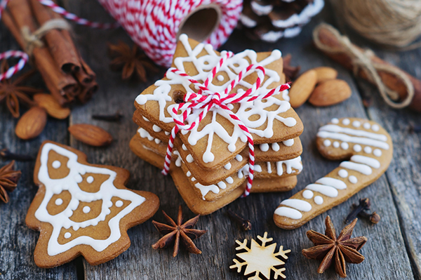 Christmas gingerbread cookies on a wooden table