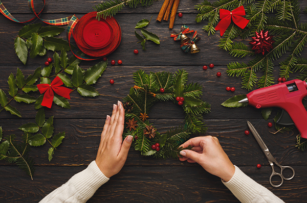 Prepare for xmas, creative craft wreath. Making christmas symbol