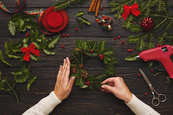 Prepare for xmas, creative craft wreath. Making christmas symbol