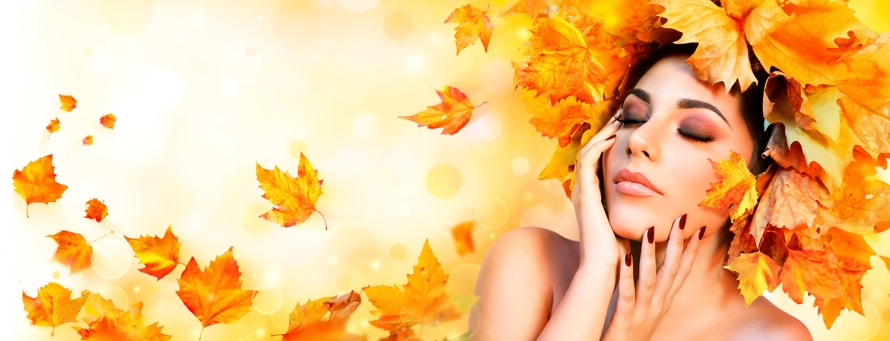 Fall Girl - Beauty Model Woman With Orange Autumn Leaves Hairsty