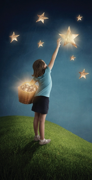 Girl trying to catch a star