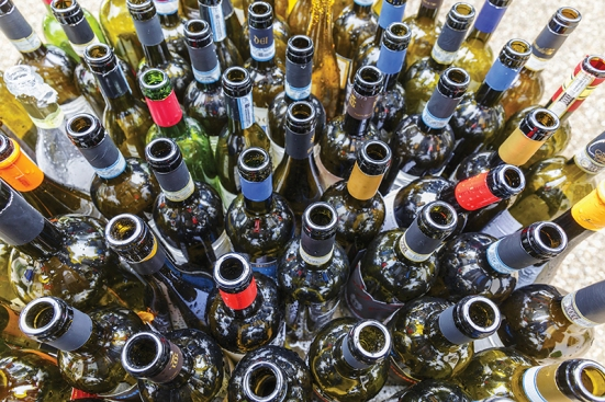 Empty wine bottles after a party