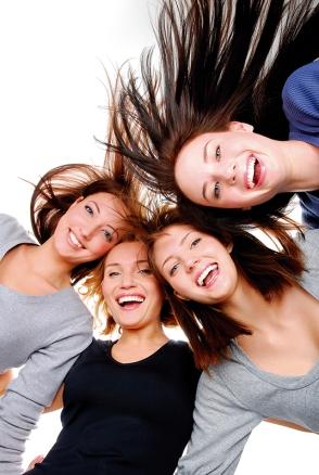 group portrait  of  fun, happy women