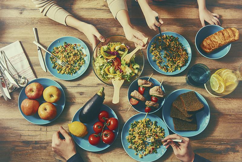 Enjoying  family dinner