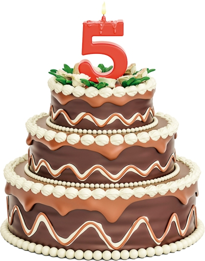 Chocolate Birthday cake with candle number 5, 3D rendering