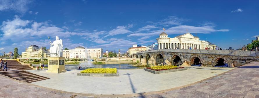 Skopje, Macedonia - Vardar River, City Center