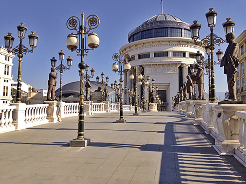 Bridge with lanterns and starues in Skopje, Macedonia