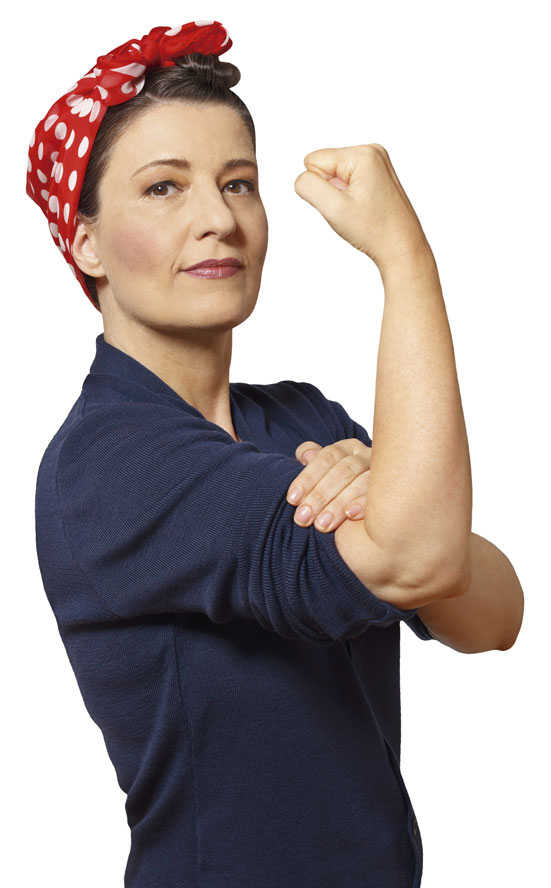 woman clenched fist isolated copyspace